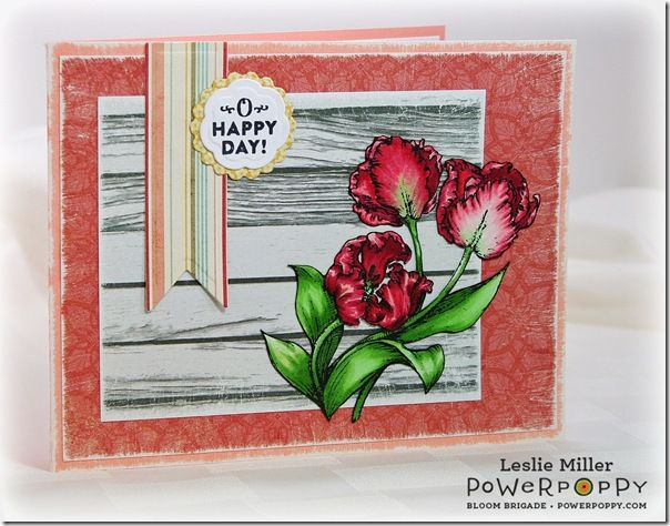 Dynamic Duos: Peonies & Tulips Stamp Set by Power Poppy, card design by Leslie Miller.