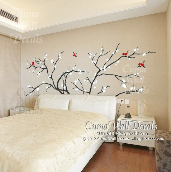Tree Wall Decals Birds Vinyl Wall Decals Cherry Blossom Wall Decals Nature Wall  Stickers Nursery Children  White Flower Tree With Red Birds By Cuma Part 82