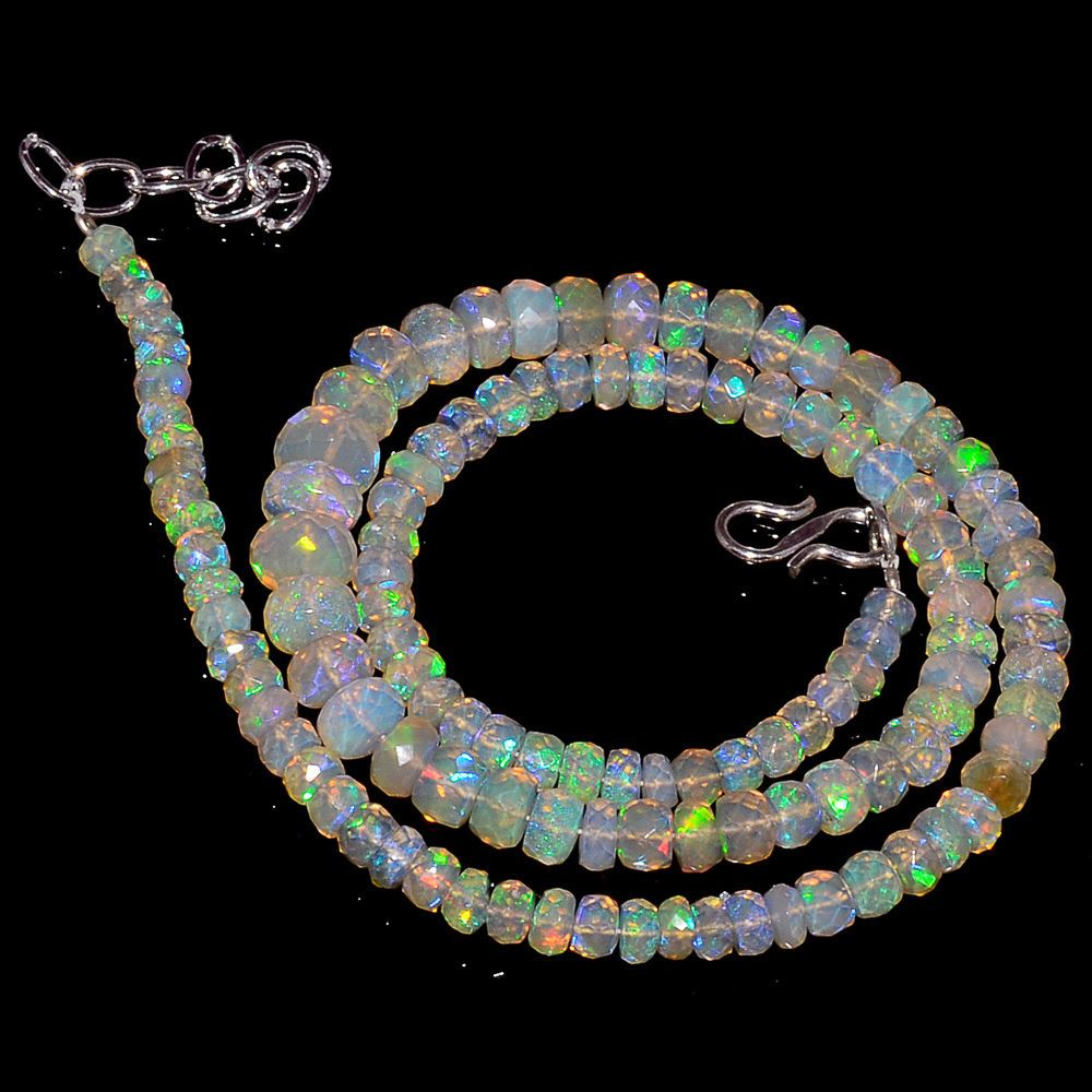 "67CRTS 4to8MM 18"" ETHIOPIAN OPAL FACETED RONDELLE BEADS NECKLACE OBI3096 #OPALBEADSINDIA"