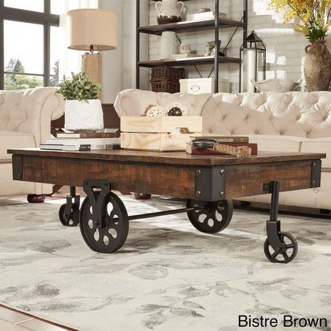 Myra Vintage Industrial Modern Rustic 47 Inch Coffee Table by Tribecca Home Brown Finish