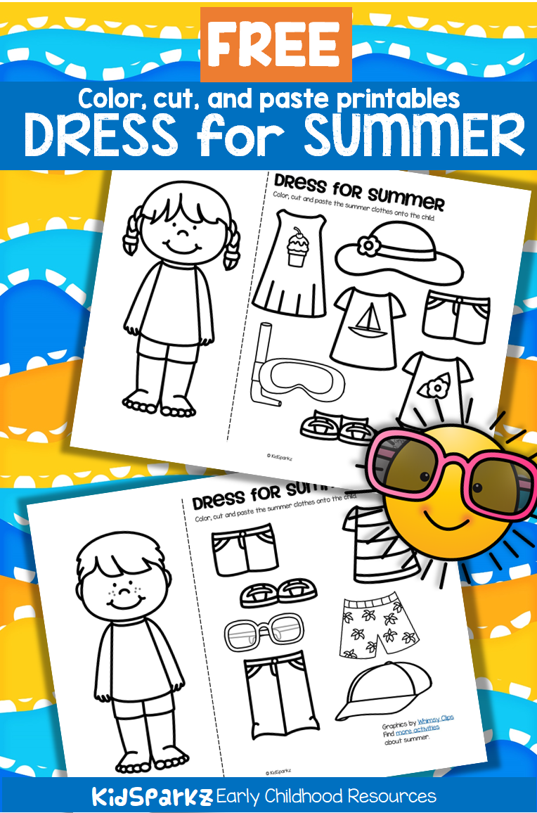 Printable Summer Clothes Coloring Pages