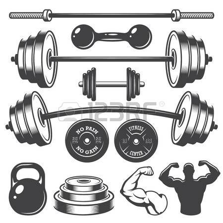#monochrome #designed #elements #vintage #fitness #vector #stock #style #photo #set #ofStock Vector...