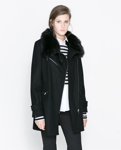 f3d5c7da14 COAT WITH FUR COLLAR from Zara | StitchFix Shopping | Coat, Black ...