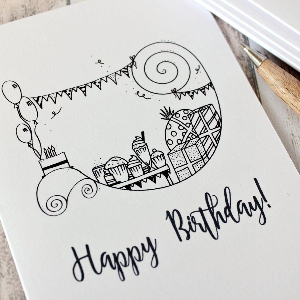 Happy Birthday Card Illustrated Birthday Party Card Happy Birthday Cards Diy Happy Birthday Hand Lettering Happy Birthday Calligraphy