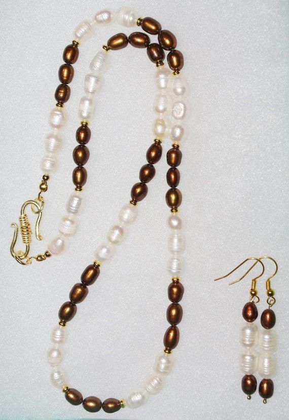 Cream Pearl Necklace Beaded Pearl Necklace Bronze Jewelry Bronze and Cream Glass Pearl Necklace Bronze Pearl Necklace