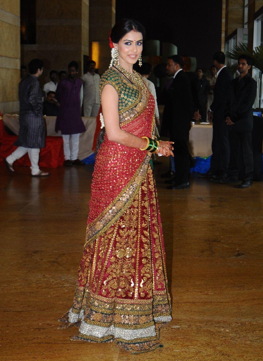 Genelia D'Souza in a Sabyasachi bridal lehnga at her ...