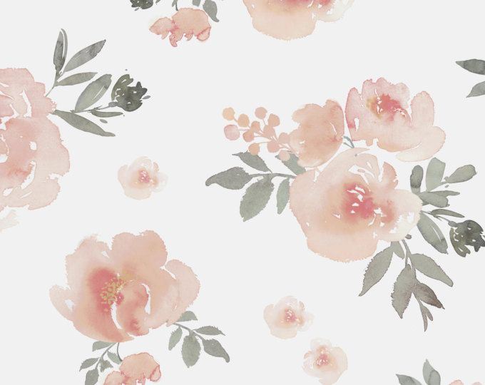 Bright Watercolor Floral Mural Removable Or Prepasted Wallpaper