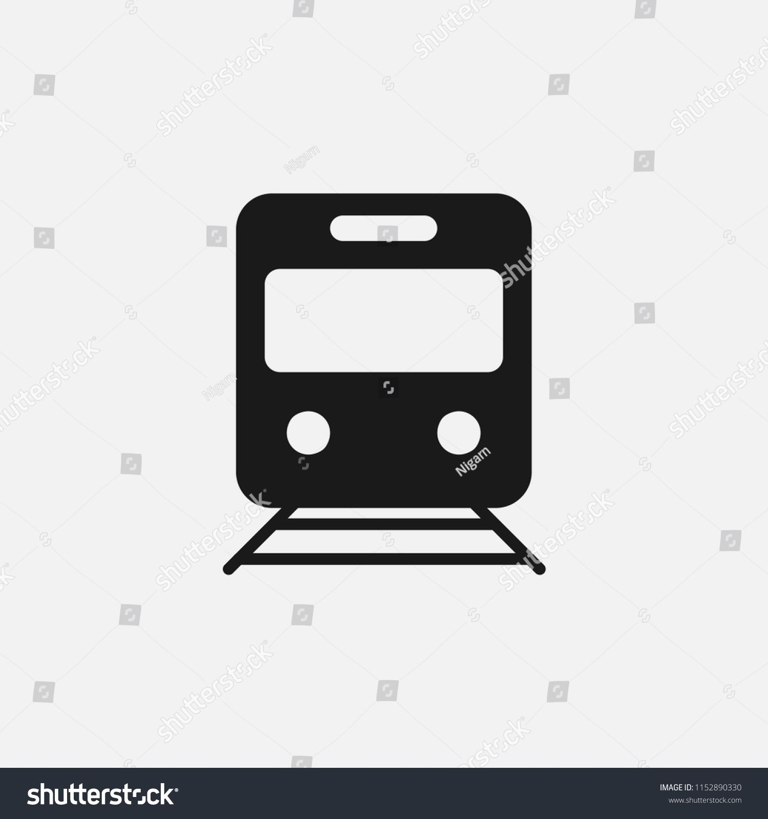 Train Sign Icon Vector Transportation Travel Transport Ailway Railroad Rail Station Track Vehicle Passenger Locomotive Speed Journey Wagon Passenger Locomotive