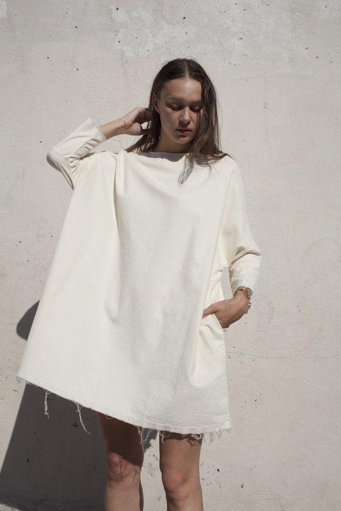 Black Crane Painter Dress in Cream | Oroboro Store | Brooklyn, New York