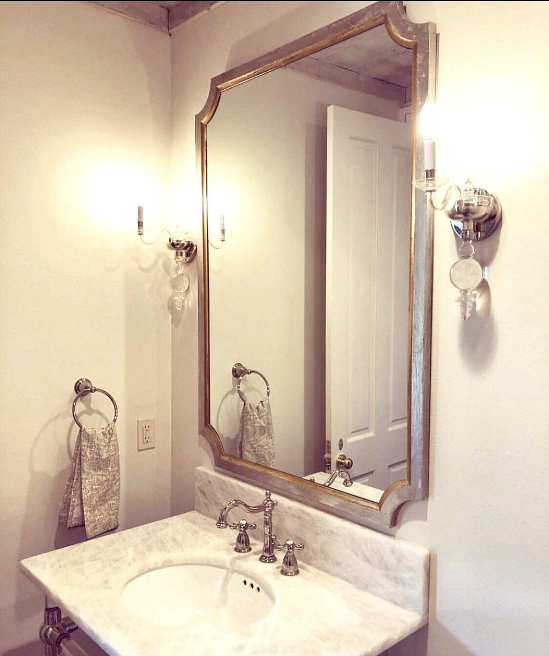 Tulip Silver And Gold Wall Mirror Decorative Bathroom Mirrors Gold Mirror Wall Small Bathroom Decor