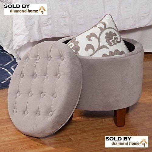 Light Gray Ottoman Round Legs Large Button Tufted Round Storage
