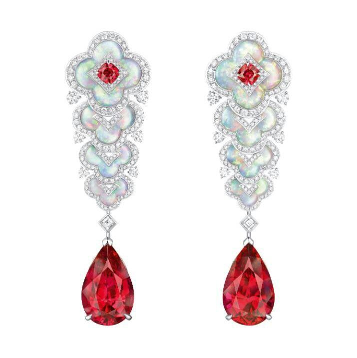 Louis Vuitton Blossom High Jewellery Collection Spinel And Mother Of Pearl Earrings