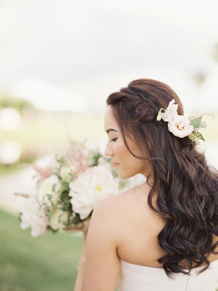 15 Half-Up Wedding Hairstyles With Braids | Fresh flowers, Wedding ...