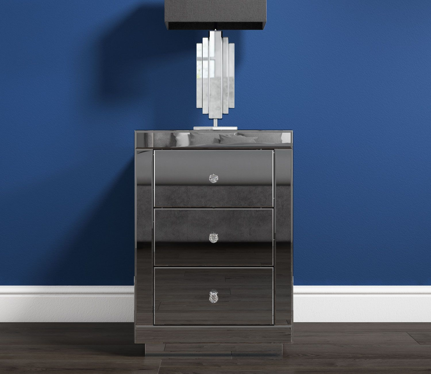 Eva Grey Mirrored 3 Drawer Bedside Table With Crystal Effect Handles Eva001 3 Drawer Bedside Table Bedside Table Mirrored Furniture