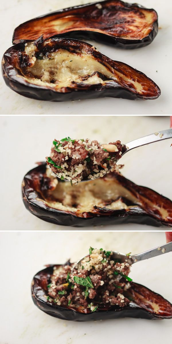 Stuffed Baby Eggplant With Spiced Ground Beef Bulgur And Pine Nuts Recipe Bulgur Recipes Food Recipes Eggplant Recipes