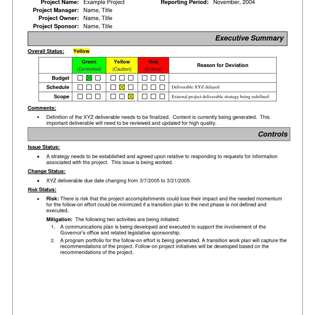 Project Status Report Sample  Project Status