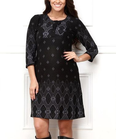 Black & Gray Diamond-Dot Button-Up Dress - Plus #zulily #zulilyfinds
