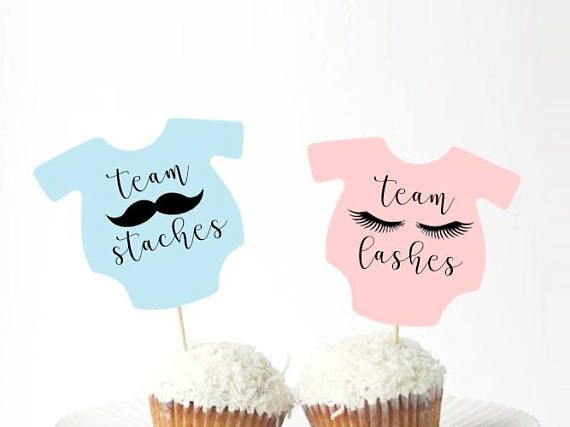 Gender Reveal Party Lashes or staches cupcake Gender Reveal Cupcake Toppers baby shower cupcake Gender Reveal Decor