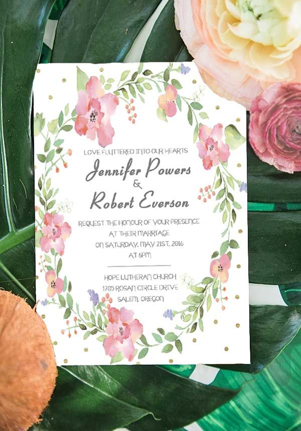 floral foiled garden themed wedding invitations ewfi009 wedding
