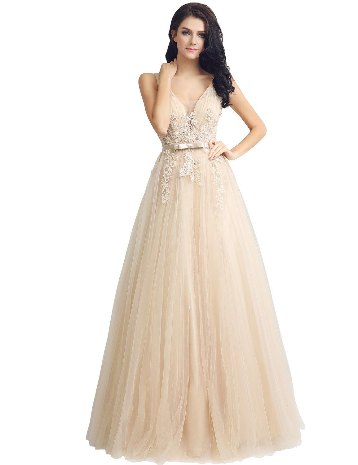 29a791c533e25 Sarahbridal Womens Tulle Applique Prom Dresses Long 2018 VNeck Beaded Evening  Ball Gowns Champagne US2    Find out more about the great product at the  image ...