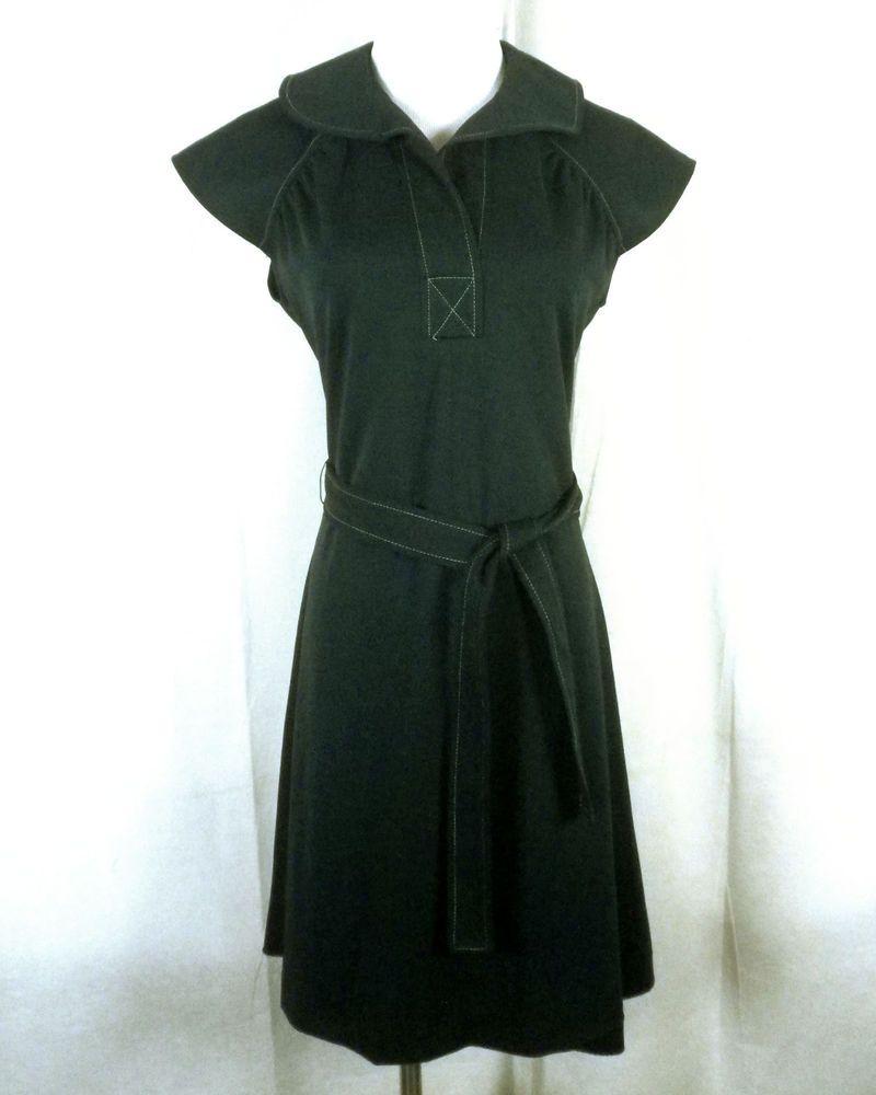 60s green dress  vtg s s Mod Solid Green Polyester Shift Dress Collar Belted