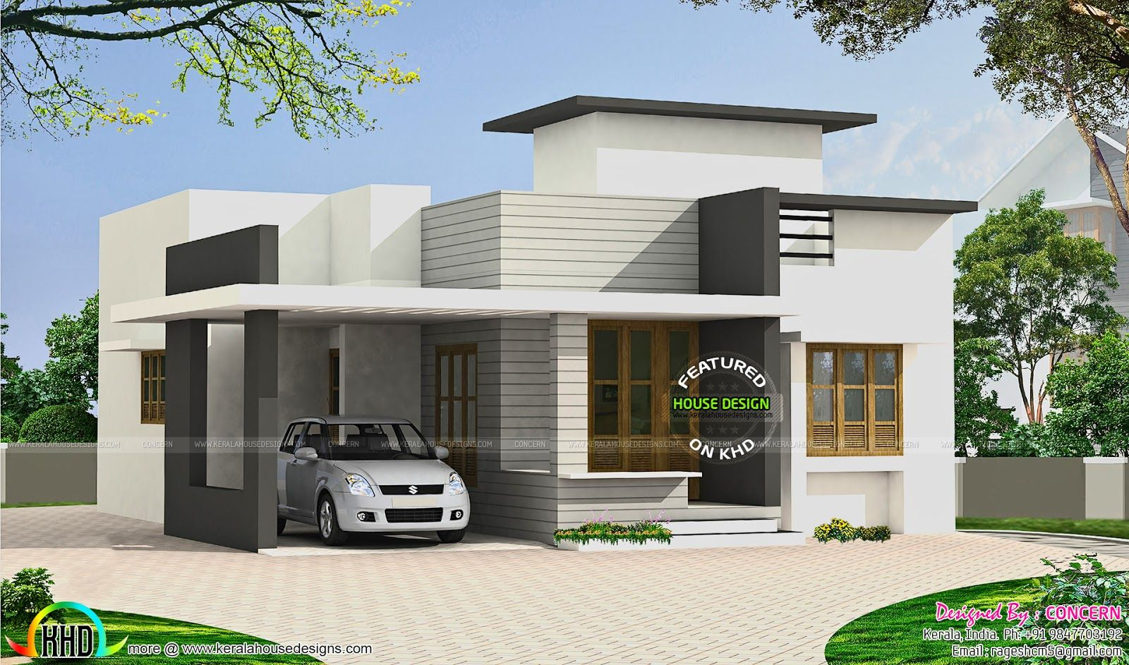 Image result for parking roof design in single floor for Single floor 4 bedroom house plans kerala