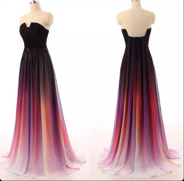 Bg89 Charming Prom Dress,Chiffon Prom Dress,Ombre Prom Dresses with Black Sash,Ombre Evening Dress,Bridesmaid Dress 2016