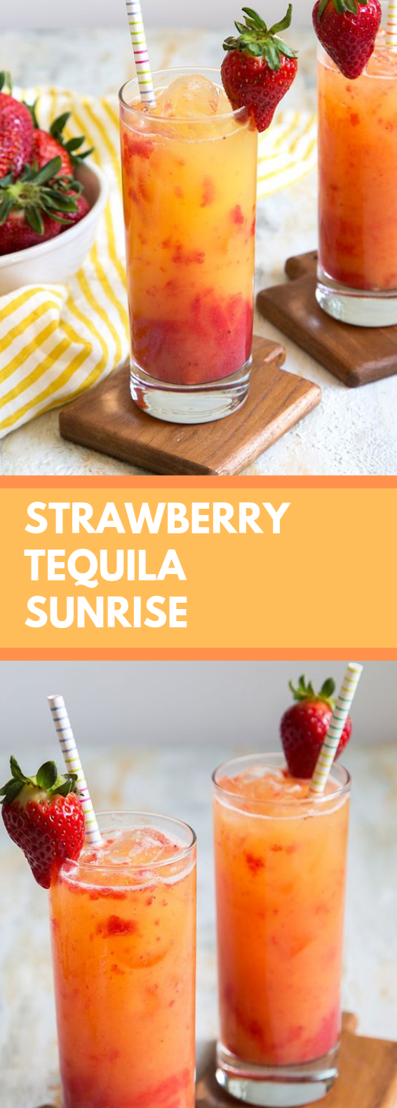 STRAWBERRY TEQUILA SUNRISE #drink #healthydrink #tequiladrinks