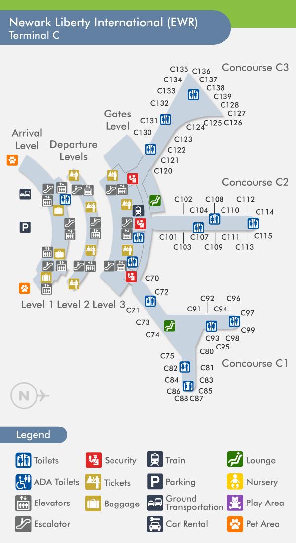 Terminal C Airport guide, Newark airport, Newark