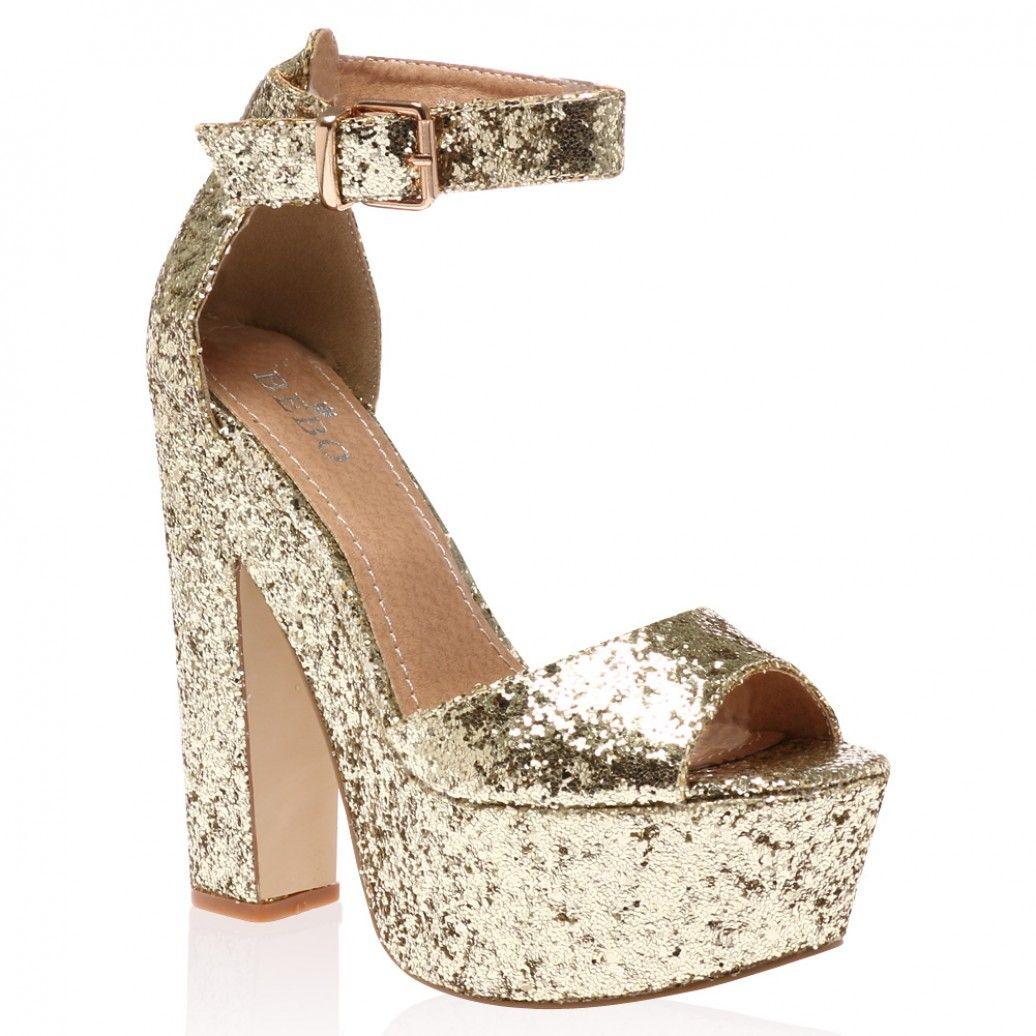 6504f96eac25f3 Disco shoes! Brandi Gold Glitter Platform High Heel Sandals