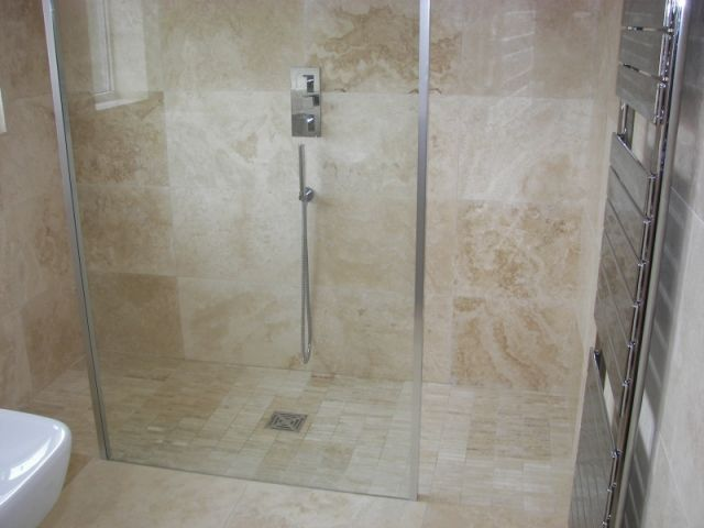 Website Picture Gallery Contemporary Shower with Travertine Tile