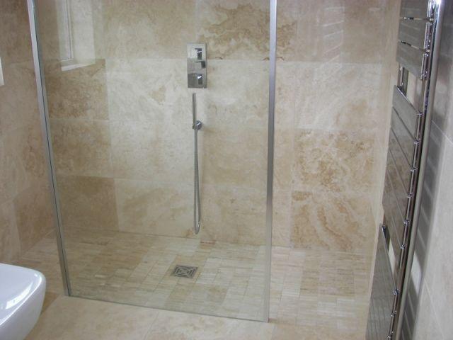 Contemporary Travertine Shower Powder Room Shower