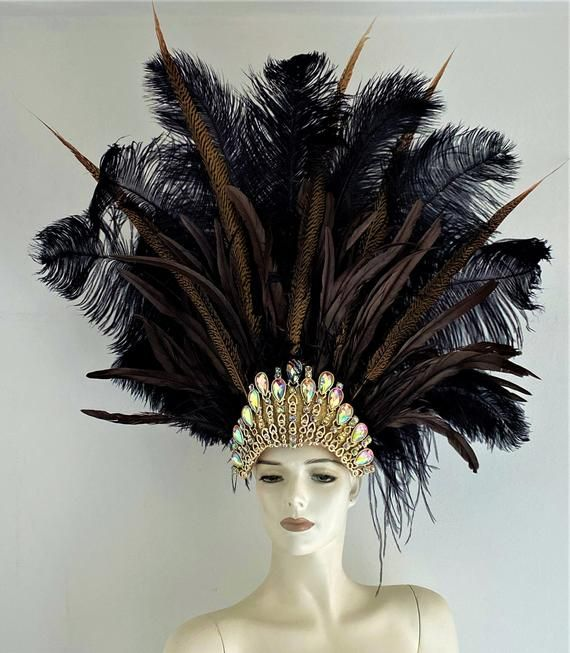 Prime Black Ostrich Feathers chocolate brown Cocktail and natural pheasant Feathers Carnival Headdress Showgirl Hat costume made in the USAHandmade to order with  different types of feathers tribal ColorsStays securely in place with an elastic band A Gold Faux Crystal crown completes the headdressVery light comfortable and easy to wearIdeal for dancing, Only one availableA miamifeathers originalAll the items are new!................................Note:Please order your item with enough time as
