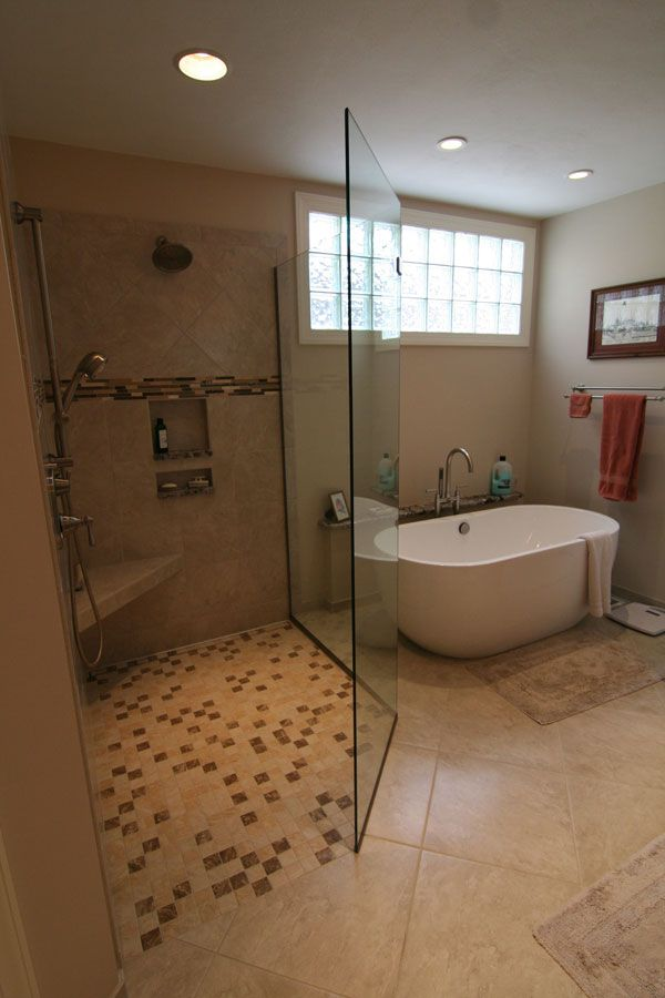 bathroom remodel: large tiled shower and standalone tub ...