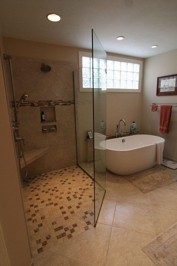 bathroom remodel: large tiled shower and standalone tub ...