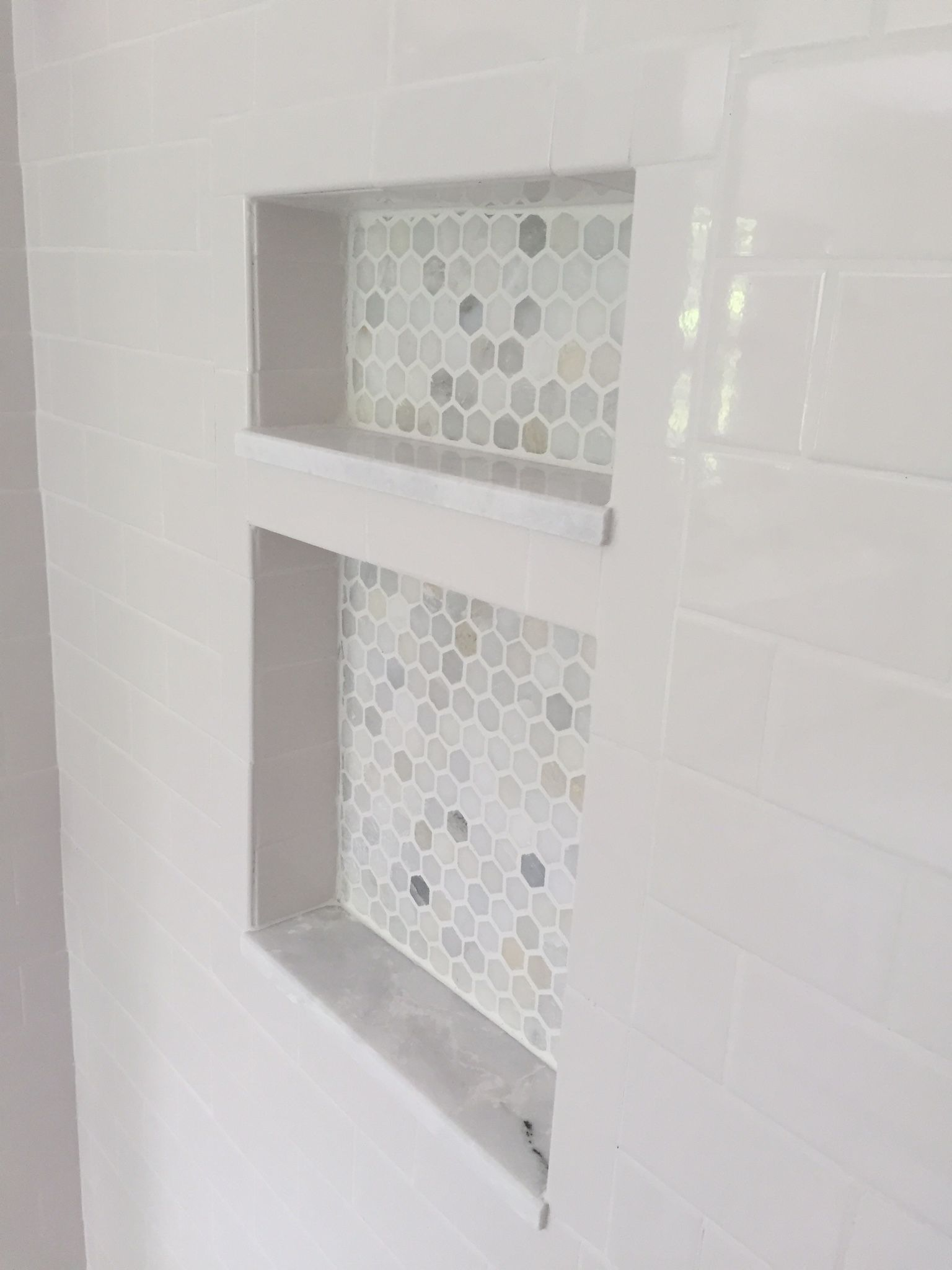 Marble Hexagon Mosaic Shower Niche. Marble Shelf