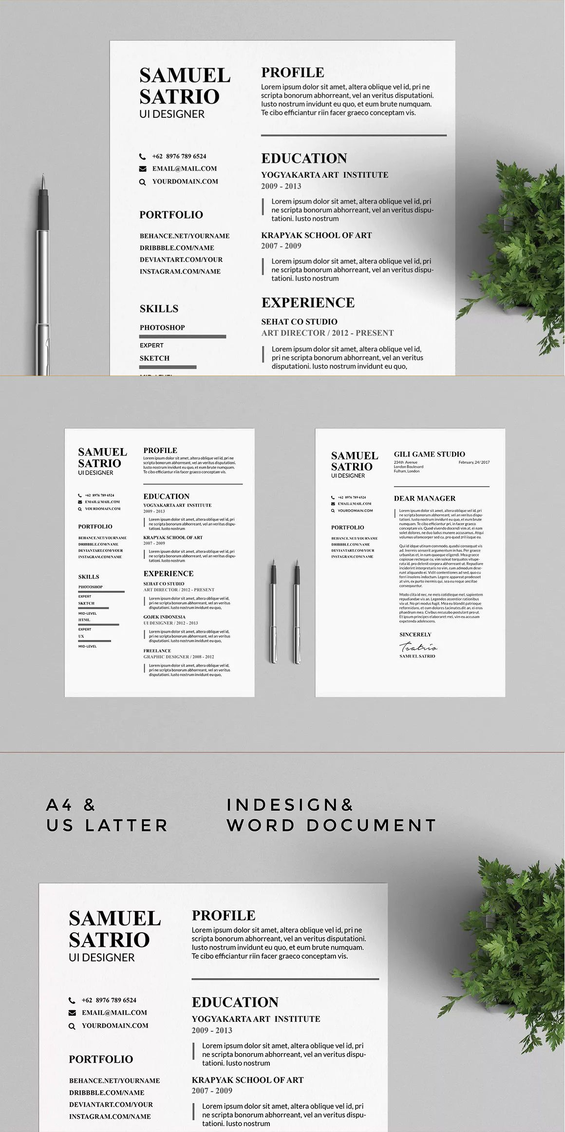 Pros Resume & CV Templates InDesign INDD - A4 & US Letter Size ...