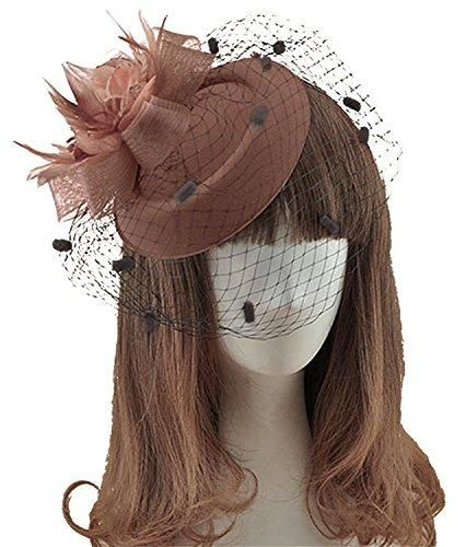 Wool Mesh Feather And Veil Material Wool Mesh Feather And Veil Women S Vintage Flower Feather Mesh Net Fascinator Hair Fascinator Wedding Hats Flower Veil