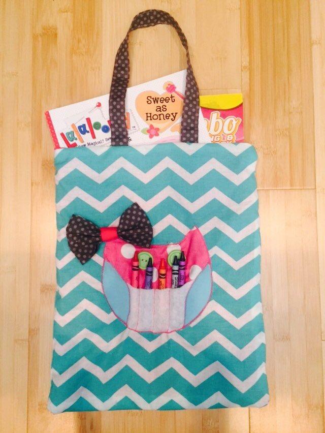 coloring book tote bag childrens tote bag crayon holder owl tote bag - Coloring Book And Crayon Holder