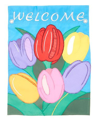 Look what I found on #zulily! Blue 'Welcome' Tulip Flag #zulilyfinds