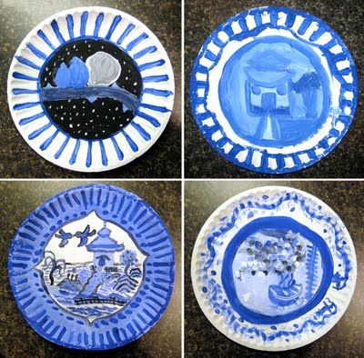 Chinese porcelain project...I just did a similar one but we drew vases and painted blue designs on them. & Chinese porcelain project...I just did a similar one but we drew ...