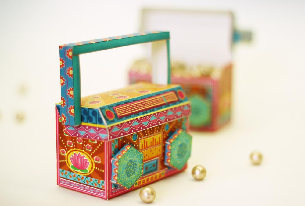COLORFUL DIY Paper Toy / Favor Box in Boom Box Design ...