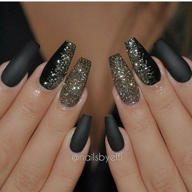 Matte black and gold glitter - Matte Black And Gold Glitter Nails Pinterest Gold Glitter