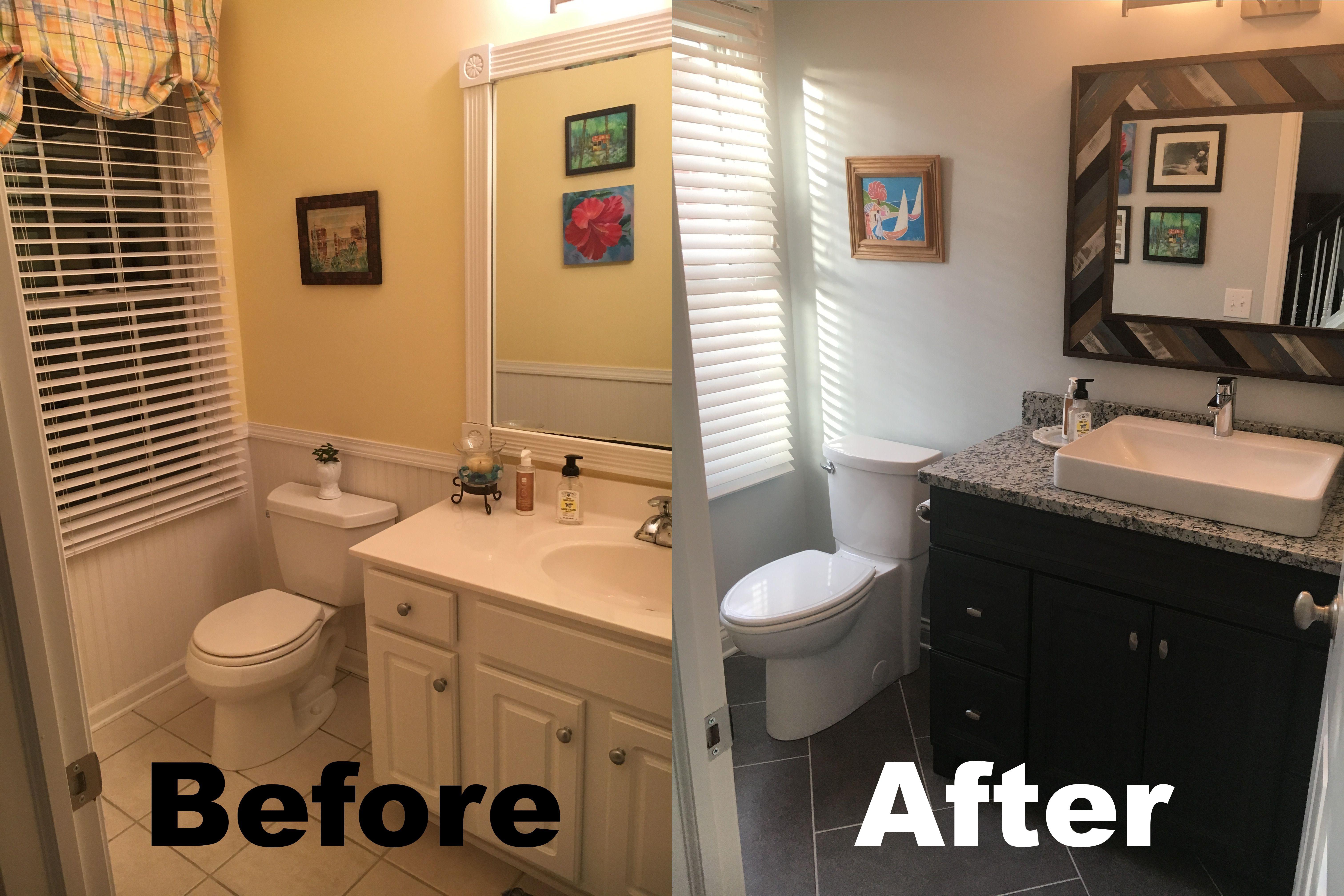 Powder Room Diy Update Vanity Diamond Freshfit Goslin Storm 48 Lowes Tile Mitte Gray Lowes 1 8 Grout S Master Bathroom Update Lowes Tile Bathroom Update