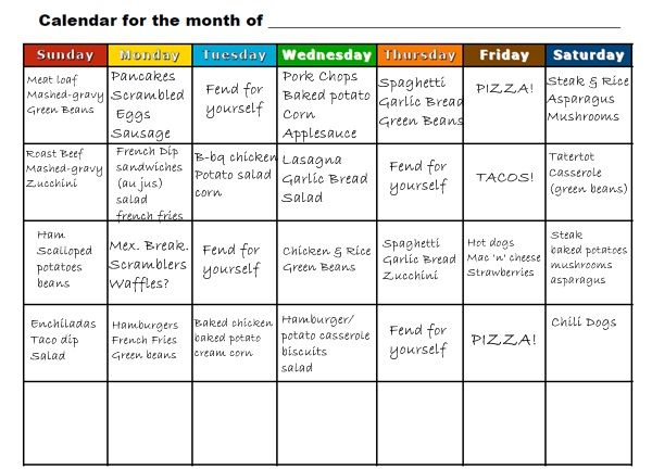 Simply Family Magazine BacktoSchool Meal planning by the – Meal Calendar