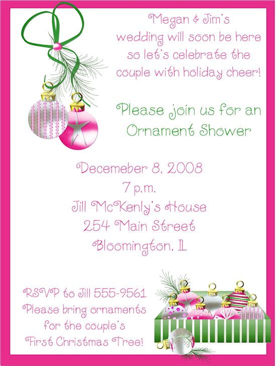 Christmas shower invitations store whimsical pink store whimsical pink christmas ornaments bridal shower invitations filmwisefo Image collections