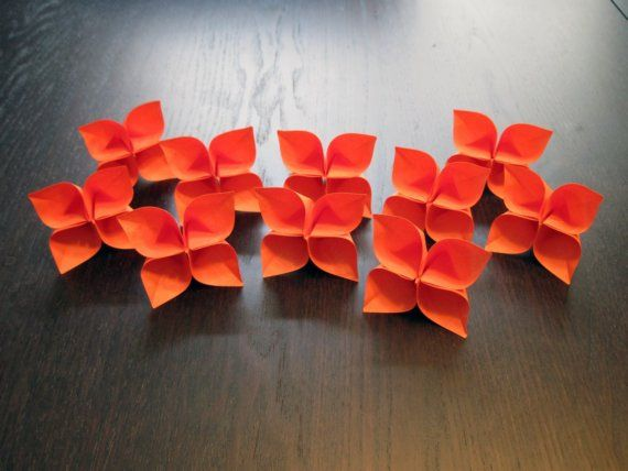 Orange Origami Flowers by Geekworks: Set of 10, $7. #Origami #Paper_Flowers #Geekworks