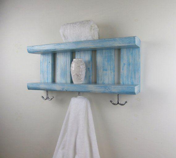 Bathroom Shelf Wood Shelves With Hooks Underneath Coastal Decor Open Shelves Bathroom Chunky Wall Wood Shelves Shelves Open Shelving