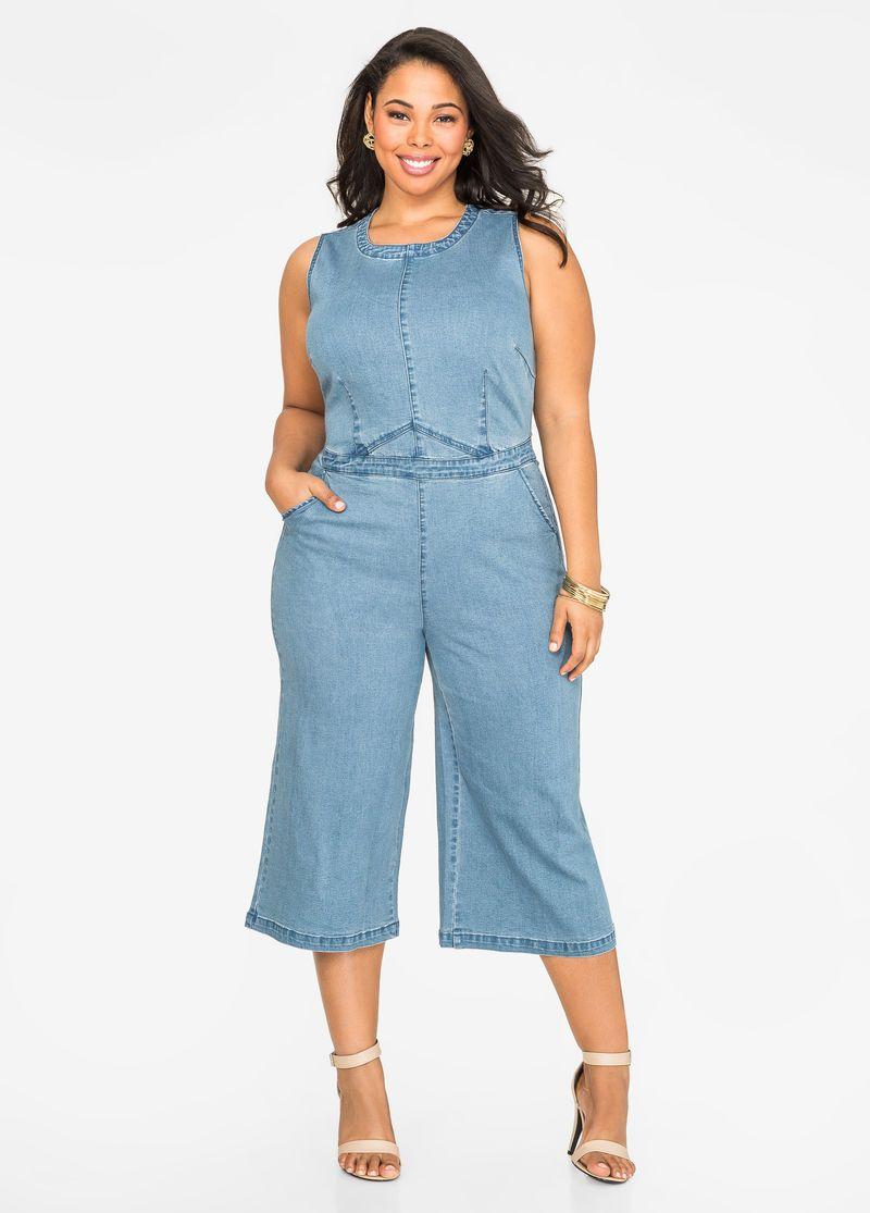 Jean Gaucho Jumpsuit In 2019 Plus Size Fashion Pinterest Jeans
