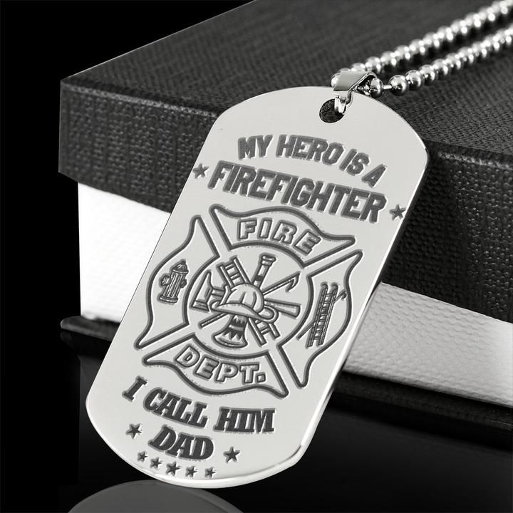 My hero is a firefighter dad dog tag engraved pendant